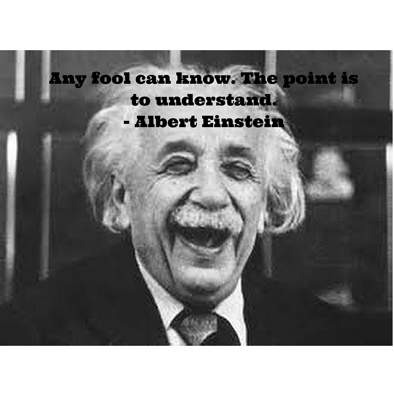 "Any fool can know. The point is to understand."" -Albert Einstein"